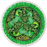 3 Celtic Irish Horses Round Beach Towel