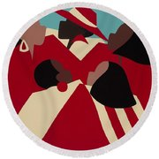 Crimson And Cream Round Beach Towel