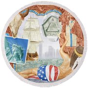 Destruction Of Native America Round Beach Towel