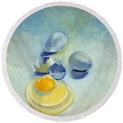 3 Eggs On Blue Round Beach Towel