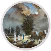 Round Beach Towel featuring the painting End Of The Day by Ken Wood