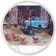 Flat Tire Round Beach Towel