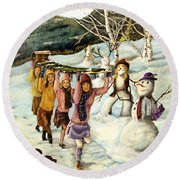 Frosty Frolic Round Beach Towel by Linda Simon