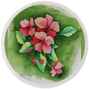 Geraniums Round Beach Towel