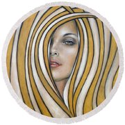 Golden Dream 060809 Round Beach Towel by Selena Boron