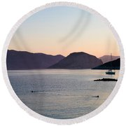 Greek Islands Round Beach Towel