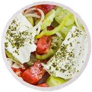 Greek Salad Round Beach Towel by Tom Gowanlock