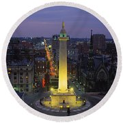 High Angle View Of A Monument Round Beach Towel