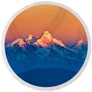 Himalayan Mountains View From Mt. Shivapuri Round Beach Towel