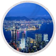 Hong Kong China Round Beach Towel by Panoramic Images