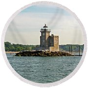 Round Beach Towel featuring the photograph Huntington Lighthouse by Karen Silvestri