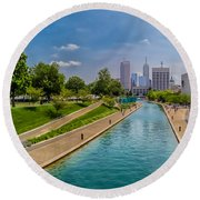 Indianapolis Skyline From The Canal Round Beach Towel
