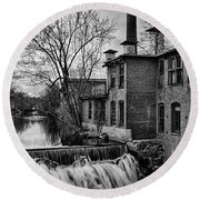 Round Beach Towel featuring the photograph Little River Dam by Betty Denise