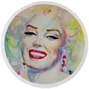 Round Beach Towel featuring the painting Marilyn by Laur Iduc