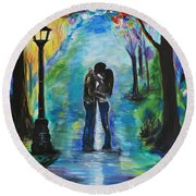 Moonlight Kiss Round Beach Towel by Leslie Allen