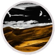 Night At The Great Sand Dunes Round Beach Towel