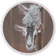 3 Nosey Goats Round Beach Towel
