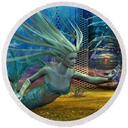 Round Beach Towel featuring the digital art Of Myths And Legends by Shadowlea Is