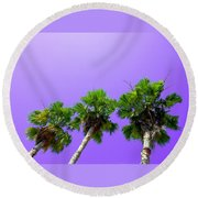 Round Beach Towel featuring the photograph 3 Palms by J Anthony