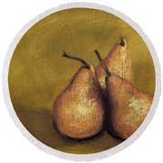 3 Pear Study Round Beach Towel by Marna Edwards Flavell
