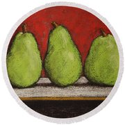 3 Pears Round Beach Towel by Marna Edwards Flavell