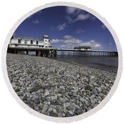 Penarth Pier 2 Round Beach Towel by Steve Purnell
