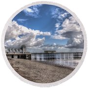 Penarth Pier 3 Round Beach Towel by Steve Purnell