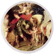 Perseus Liberating Andromeda Round Beach Towel by Peter Paul Rubens