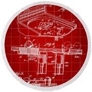 Pinball Machine Patent 1939 - Red Round Beach Towel by Stephen Younts