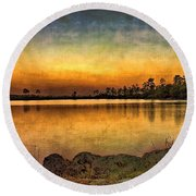 Round Beach Towel featuring the photograph Pine Glades Lake by Anne Rodkin
