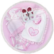 Pink Baby Clothes For Infant Girl Round Beach Towel