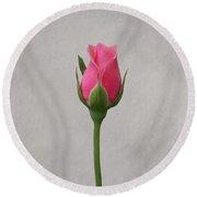 Pink Rosebud Round Beach Towel
