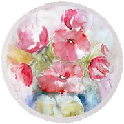 Round Beach Towel featuring the painting Poppies by Jasna Dragun