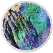 Round Beach Towel featuring the painting Praying Hands Flowers And Cross by Annie Zeno