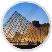 Pyramid In Front Of A Museum, Louvre Round Beach Towel