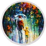 Rainy Walk With Daddy Round Beach Towel