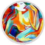 Round Beach Towel featuring the painting Repose by Helena Wierzbicki