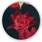 3 Roses Red Round Beach Towel