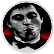 Scarface 2013 Round Beach Towel by Luis Ludzska