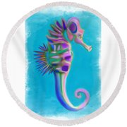 Round Beach Towel featuring the painting The Pretty Seahorse by Deborah Boyd