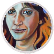 Round Beach Towel featuring the painting Self Portrait  by Helena Wierzbicki