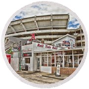 In The Shadow Of The Stadium - Hdr Round Beach Towel