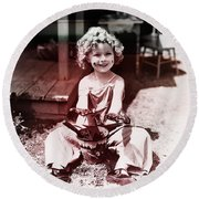 Shirley Temple Round Beach Towel by Marvin Blaine