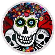 Round Beach Towel featuring the painting 3 Skulls by Pristine Cartera Turkus