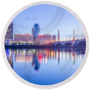 Springfield Massachusetts City Skyline Early Morning Round Beach Towel