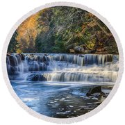 Squaw Rock - Chagrin River Falls Round Beach Towel