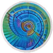 Round Beach Towel featuring the painting Stairway To Lighthouse Heaven by Deborah Boyd