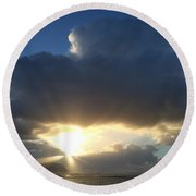 Sunbeams Over Conwy Round Beach Towel