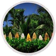 Surf Board Fence Maui Hawaii Round Beach Towel