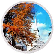 Round Beach Towel featuring the photograph The Little White Church by Dora Sofia Caputo Photographic Art and Design